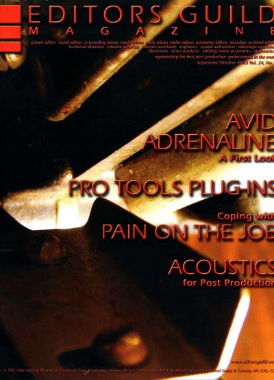Sep/Oct 2003   |   Editors Guild Magazine   |   Acoustics & Studio Design